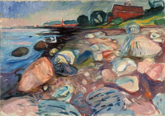 Munch, Edvard: Shore with Red House. Fine Art Print/Poster. Sizes: A4/A3/A2/A1 (0084)